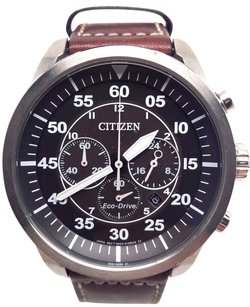 Citizen Citizen Eco-drive Military Avion Leather Mens Chronograph Watch Ca4210-24e