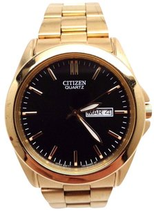 Citizen Citizen Bf0582-51f Mens Classic Gold Tone Black Dial Day Date Analog Watch