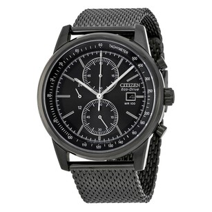 Citizen Eco-Drive Chronograph Black Dial Mesh Men's Watch