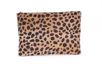Clare V. Flat Leopard Calf Hair Brown Clutch