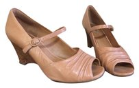 Clarks Artisan Active Air Peeptoe Leather Nude Wedges