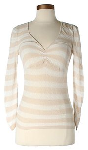 Club Monaco Striped Longsleeve T Shirt Beige