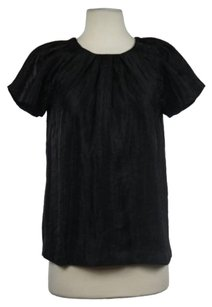 Club Monaco Womens Metallic Short Sleeve Shirt Casual Top Black