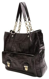 Coach Leather Poppy Tote in Black
