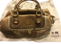 Coach Satchel in brown tan cream