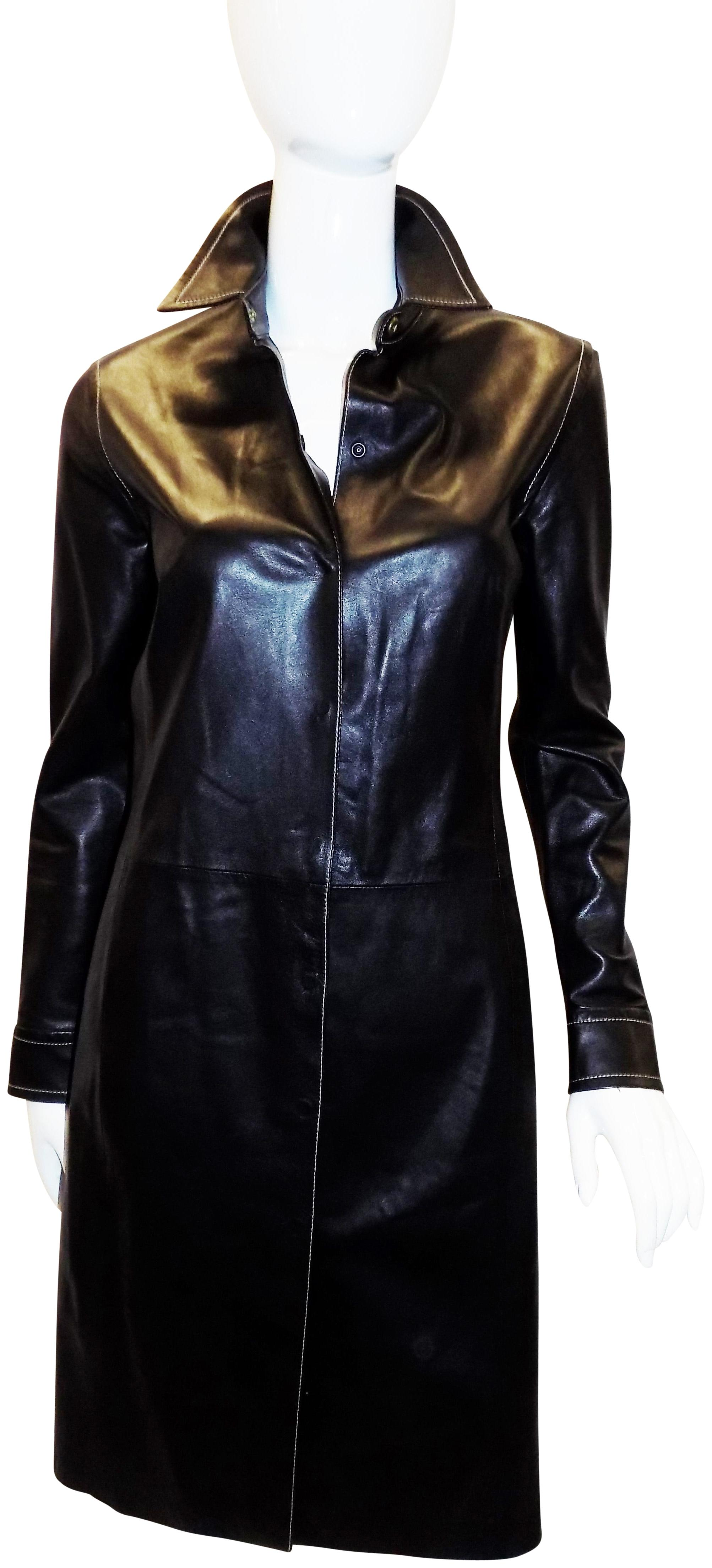 Black Leather Coat Dress With Tonal Top Stitch Coach Outlet Buy Discount Cheap Sale Cheap A3b8rq
