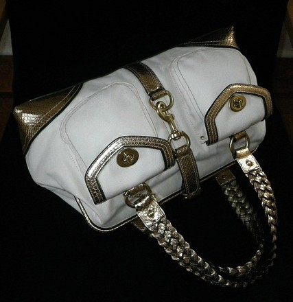 Coach Louis Vuitton Dooney Bourke Gucci Channel Rare Vintage Tote in White/Ivory, Gold