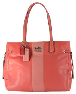 Coach Chelsea Leather Stripe Tote in Coral