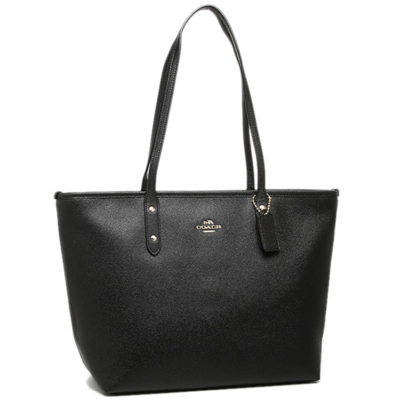 ... discount coach shoulder leather f58846 leather tote in black 2a8b3 96324 dd8937bf362a7