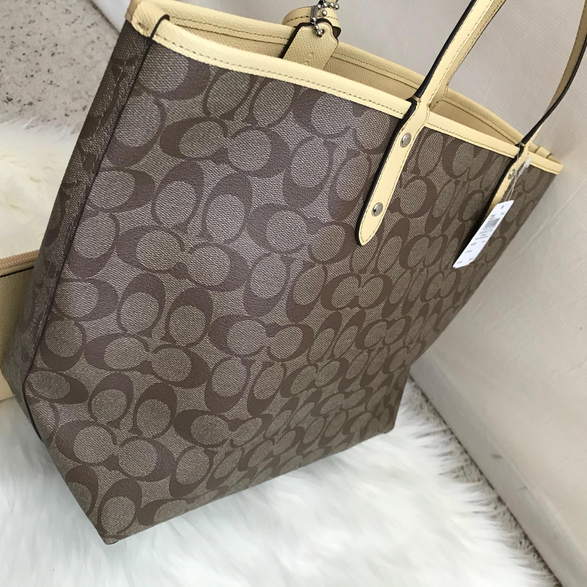 ... khaki vanilla bag handbag luxyvip 2f01f 43c2e  sale coach city signature  reversible f36658 multicolor coated canvas tote 5c1d8 4dbac 345a800135b91