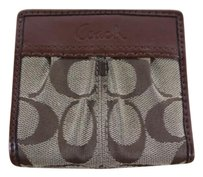 Coach Coach Womens Beige Embroidered Wallet Bi-fold Leather