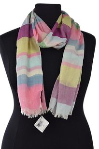 Coach Coach Womens Pink Scarf Os Striped Cotton Casual Fringed