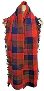 Coach Coach Red Blue Plaid Scarf With Fringe On One End 66 X 12