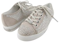 Coach Ian Suede Jeweled Womens Designer Lace Up Sneakers Parchment/ Clear Athletic