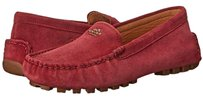 Coach Flat Loafer Suede Black Cherry Red Flats