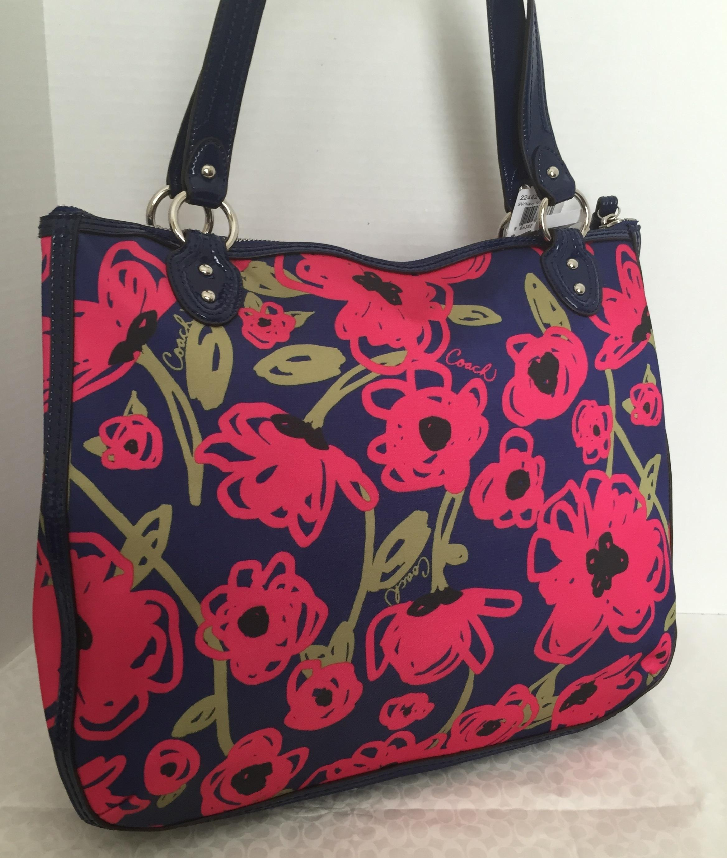 Coach Hallie Floral Poppy Navy Multicolor Tote Bag | Totes On Sale