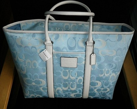Coach Gucci Louis Vuitton Dooney Channel Rare Tote in Blue