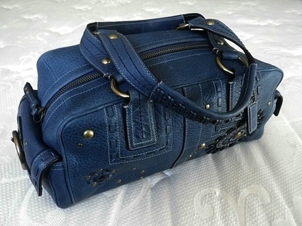 Coach Hermes Channel Gucci Dooney Bourke Rare Satchel in Indigo Denim