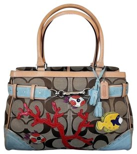 Coach Hermes Channel Gucci Dooney Vintage Rare Satchel in Khaki, Red, Yellow, Blue Green, MULTICOLORED