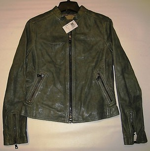 Coach Womens Keira Leather Racer Slate 82389 Gray/Green Jacket