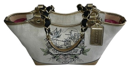 Preload https://item1.tradesy.com/images/coach-limited-ed-gold-leather-lg-tattoo-tote-metallic-high-end-canvas-dust-grain-fabricleather-satch-517105-0-0.jpg?width=440&height=440