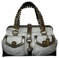 Coach Louis Vuitton Dooney Gucci Channel Rare Vintage Tote in White/Ivory, Gold