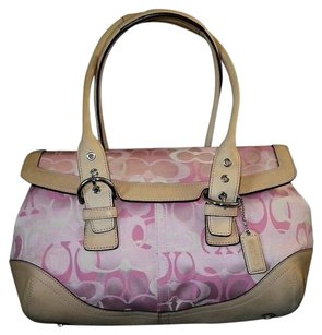 Coach Louis Vuitton Dooney Bourke Tote in White/Pink. Beige/Tan