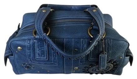 Preload https://item1.tradesy.com/images/coach-mia-studded-lace-tote-indigo-denim-leather-satchel-733135-0-0.jpg?width=440&height=440
