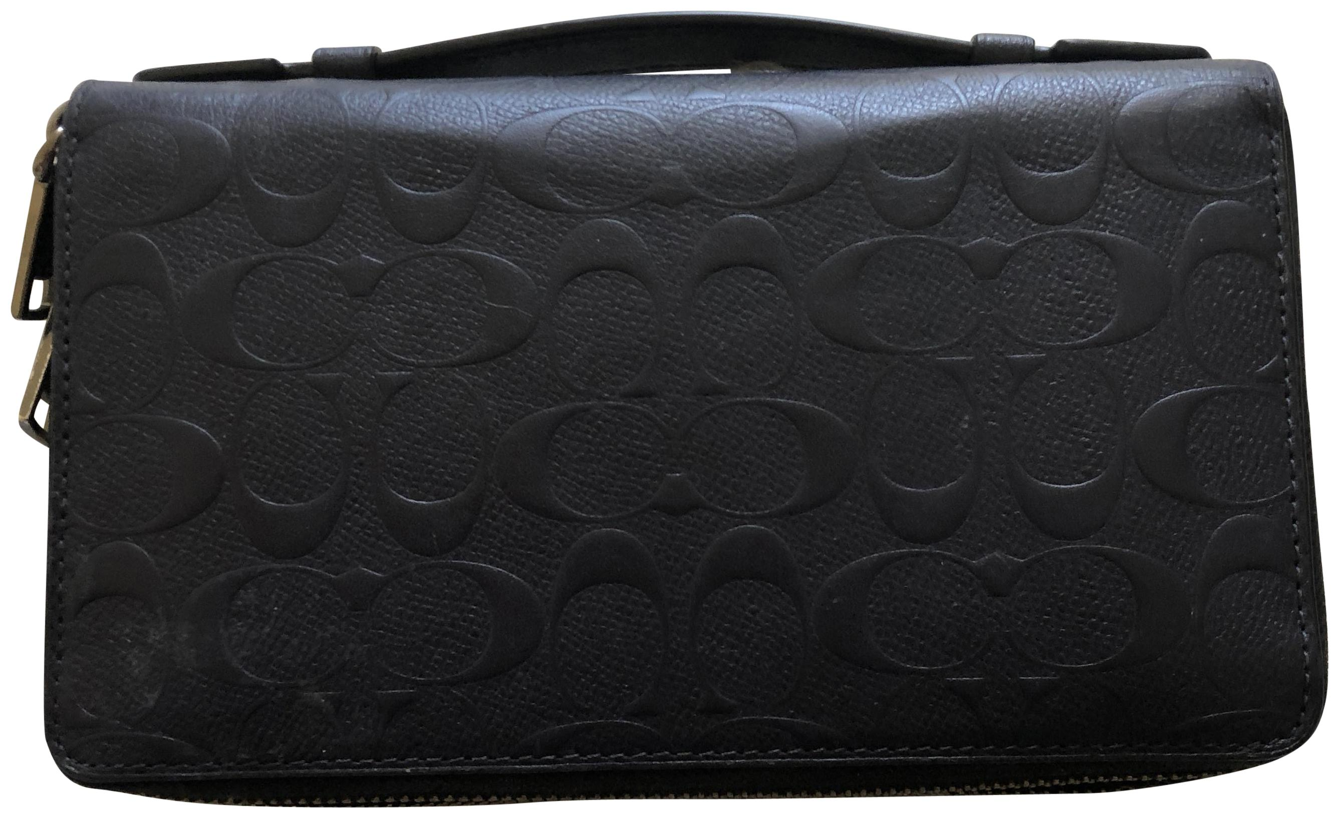 Coach Navy Blue Double Zip Travel Organizer In Crossgrain Leather