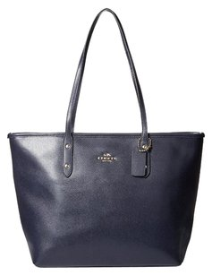 Coach New Coach Zip City Tote In Crossgrain Leather Light Gold Midnight NWT