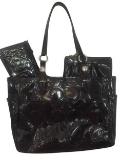 Coach Patent Leather Wallet Wristlet Poppy Tote in Black