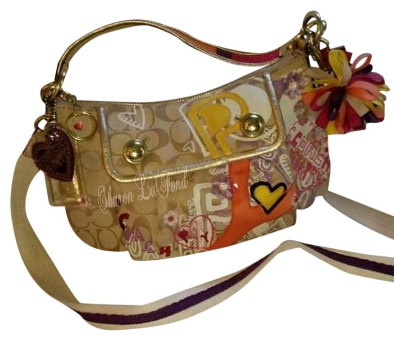 784308215e7 ... coupon code for coach poppy graffiti color limited edition groovy  leather canvas crossbody strap hobo bag