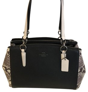 Coach Satchel in black with snake print
