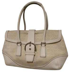 Coach Satchel in Cream & Tan