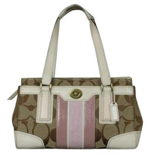 Coach Womens Monogram Satchel in Tan