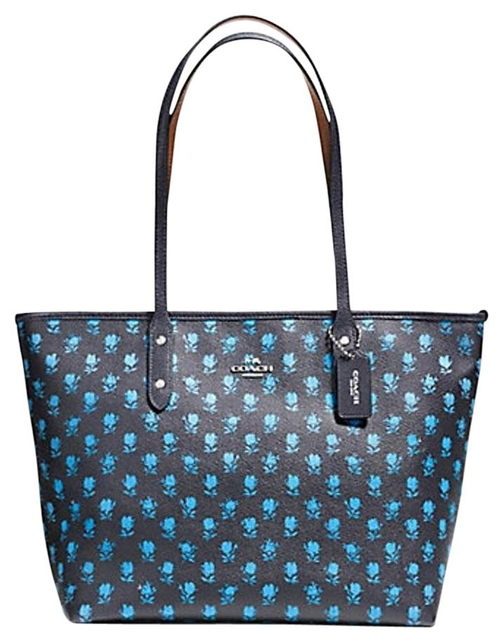 Coach Blue Floral Navy City Zip Top Black Tote Bag On Sale 49% Off | Totes On Sale