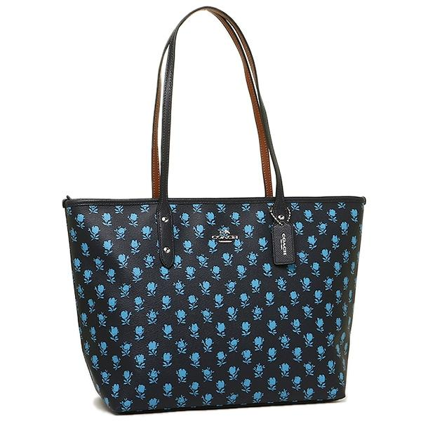 Coach Badlands Floral Blue Leather City Zip Top Black Tote Bag - Tradesy