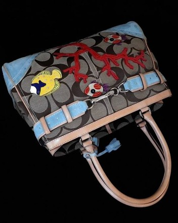 Coach Hermes Channel Gucci Dooney Bourke Vintage Rare Satchel in Khaki, Red, Yellow, Blue Green, MULTICOLORED