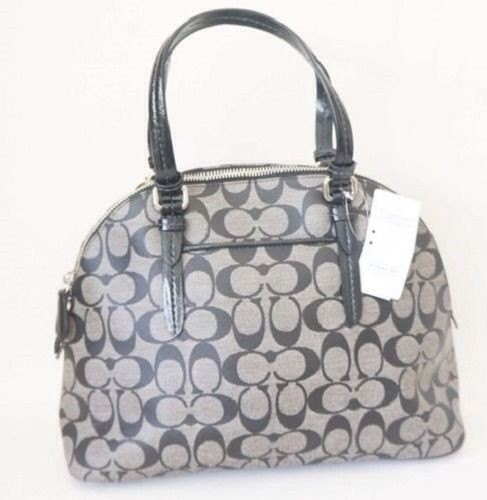 fd4e6c74510 Coach cora signature peyton domed purse black white coated jpg 935x960 Coach  f24606