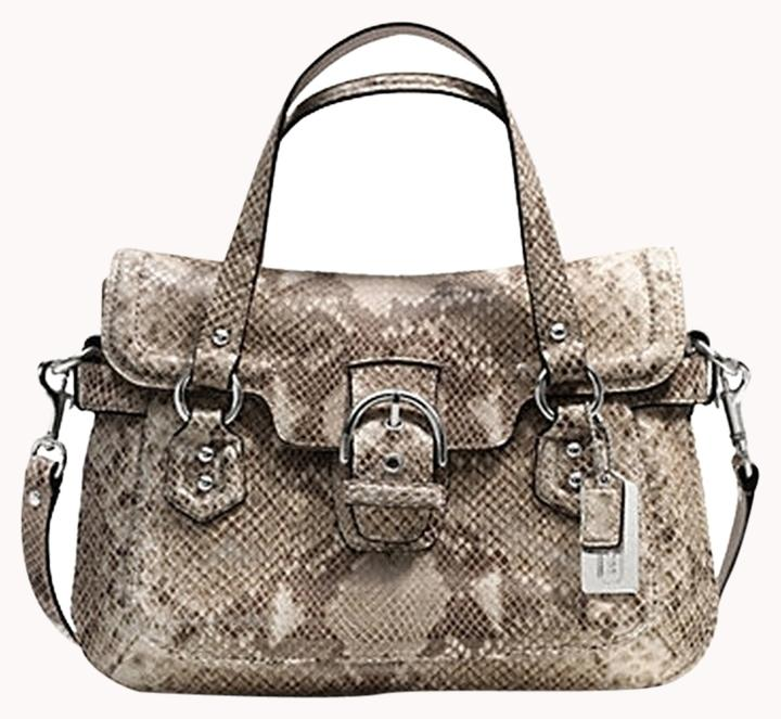 8be20783218d ... denmark coach snake print large satchel shoulder purse python tan brown  white embossed leather satchel tradesy