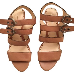 Coach Strappy Embellished Leather Natural Sandals