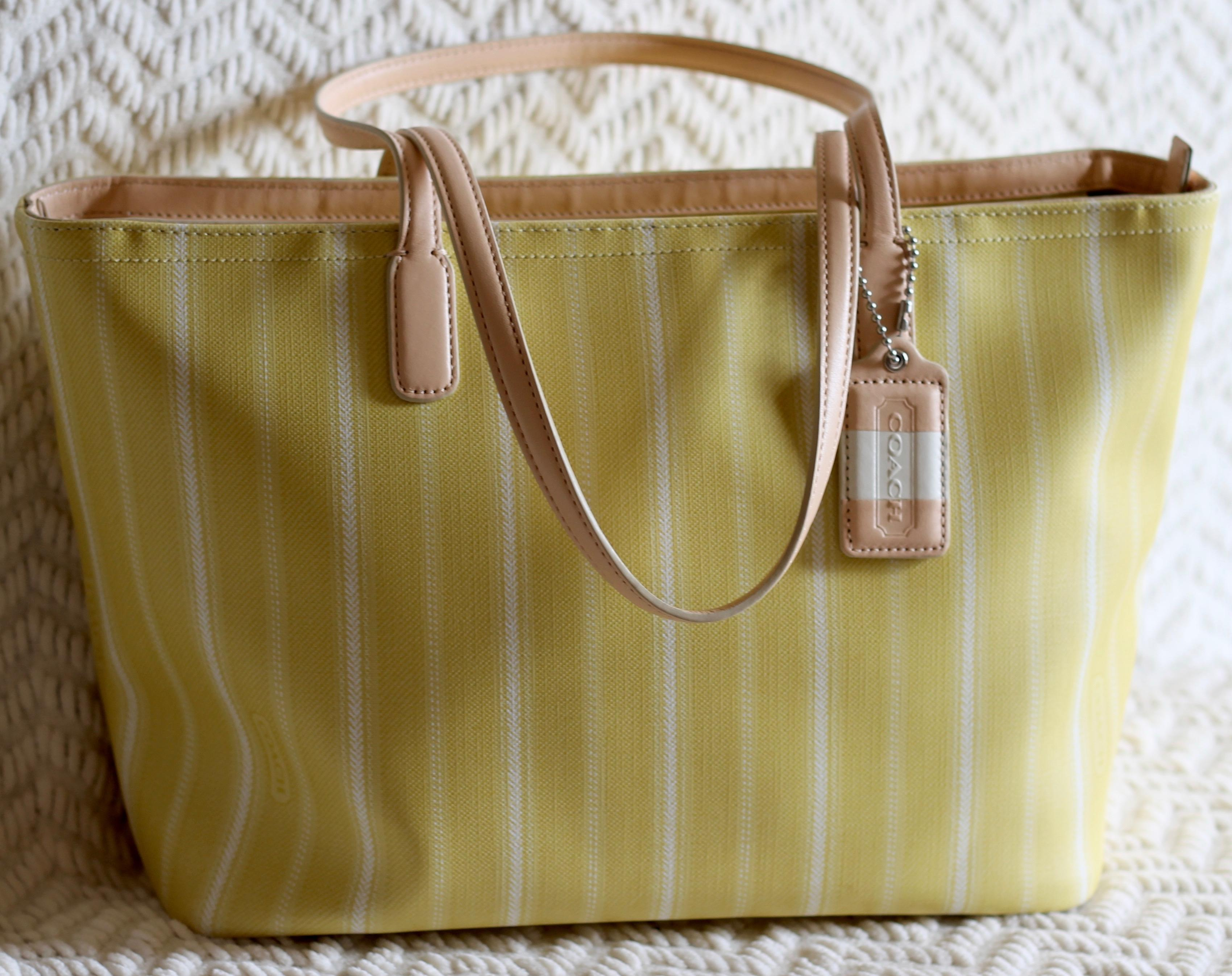 eaaf36bad5 discount code for coach stripped summer canvas tote in yellow with white  strips. 12345678910 6d54a
