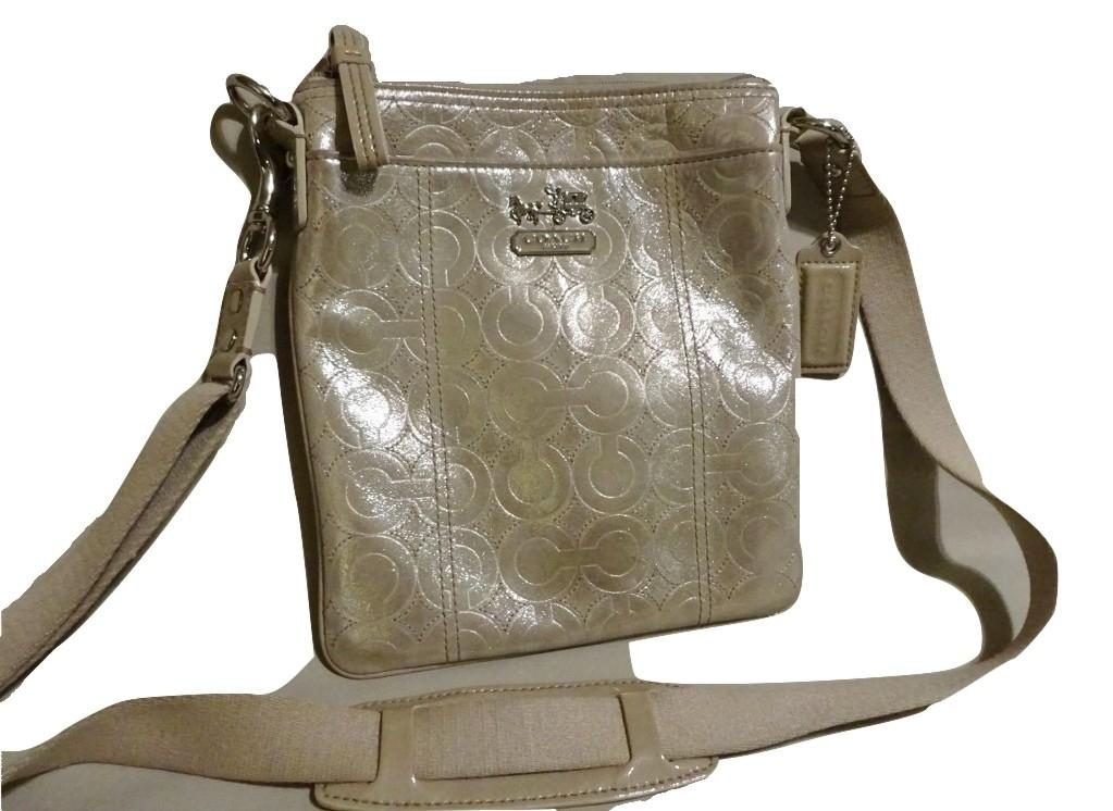 bb3281a01e67 ... cheap coach swingpack mia ultra soft shimmer embossed signature msgr  44332 champagne gold leather cross body