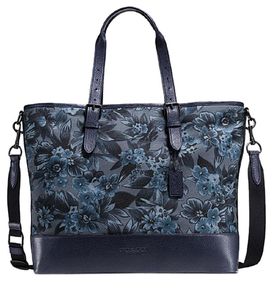 Coach Blue Hawaiian Floral Canvas / Leather Mercer Tote - Tradesy
