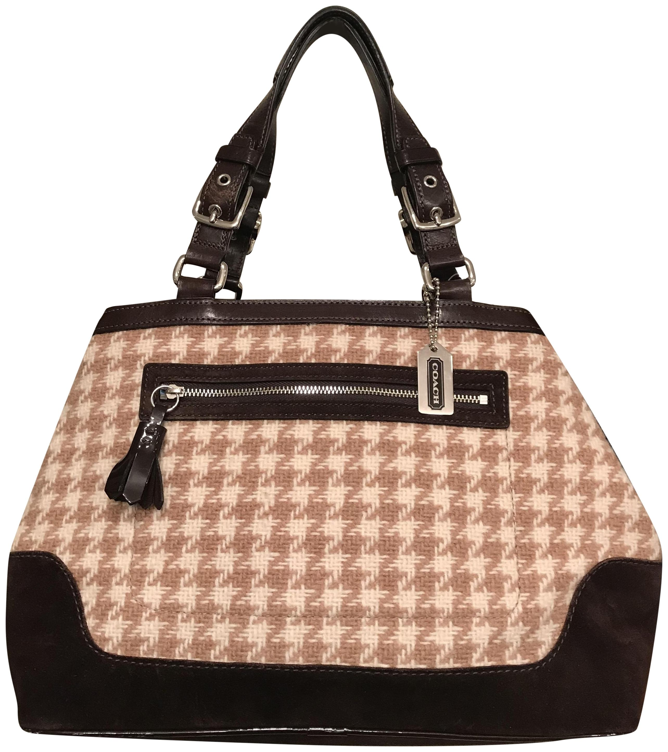 f4f0286dc ... clearance coach tote brown wool satchel tradesy 700d4 406a3