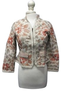 Coldwater Creek Coldwater Creek Tan Floral Long Sleeves Full Zip Casual Blazer P8 Sma8969