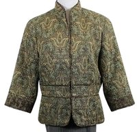 Coldwater Creek Coldwater Creek Womens Brown Floral Basic Jacket 34 Blazer