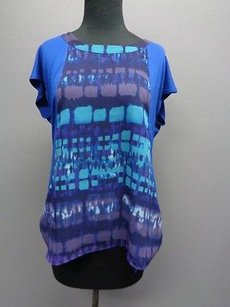Coldwater Creek And Stretchy Cap Sleeve Semi Sheer Sm8040 Top Blue Brown White