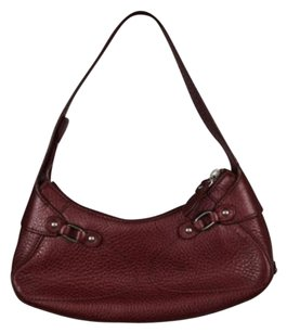 Cole Haan Womens Red Leather Casual Handbag Baguette