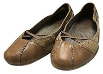 Cole Haan Round Toe Strappy Contrast Fabric Casual B3417 Brown Flats